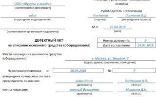 Акт дефектовки: образец